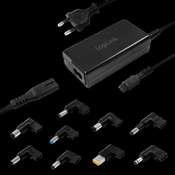 LogiLink® Notebook-Universalnetzteil, 65W, schmal inkl. 9 austauschbare Adapter