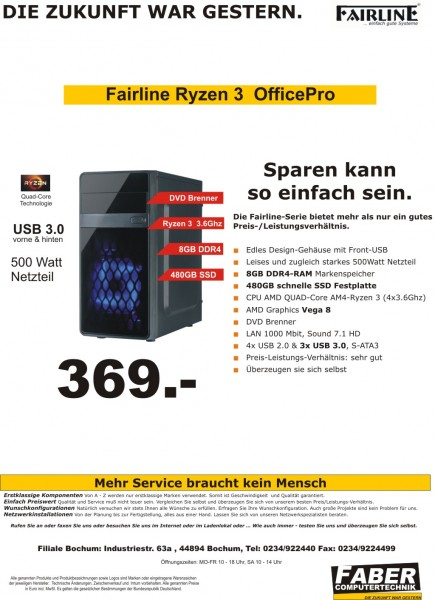 FK Fairline V20 Ryzen 3 Office Pro