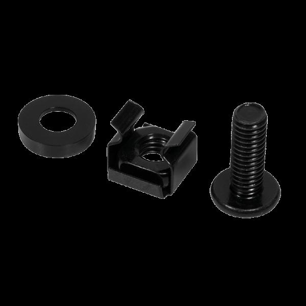 50x Rack-SchraubenSet Montagesatz schwarz