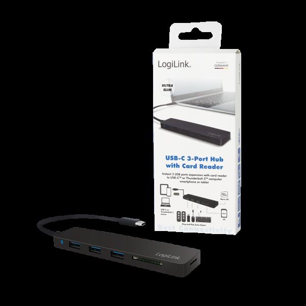 Logilink UA0312 USB-C 3port USB-Hub + USB-CardReader